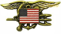 US Navy SEALS Special Warfare SEAL Team Trident Insignia AMERICAN FLAG Badge Pin