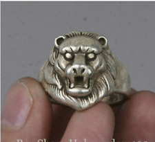 2.5cm Old Chinese Miao Silver Foo Fu Dog Lion Head finger ring