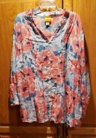 Ruby Rd Rayon Blend Red, White and Blue Floral Long Sleeve Button Tunic Size 2X