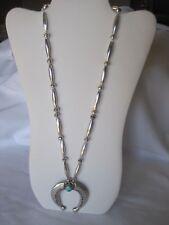 Gorgeous Estate Sterling Silver Squash Blossom Pendant Necklace