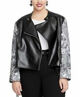 Rachel Rachel Roy Women's Charlie Jacket Black Size 1X Plus Full-Zip $149 #553