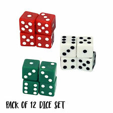 12 Playing Dice 6 Sided Gaming Fun Toy Bulk Board Game White Reg Green 1.5cm