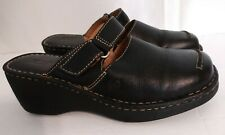 Born Black Leather Mules Adjustable Strap Slip On Clogs Womens Size 9 W3871E