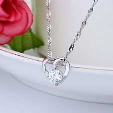 Gift Silver Plated Women Crystal Zircon Love Heart Necklace Jewelry Pendant