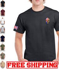 PUNISHER SKULL embroidered T-SHIRT Spartan Helmet Union Jack Flag Molon Labe