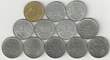12 DIFFERENT 1 FRANC COINS from FRANCE (1940/43/45/49/57B/59/69/72/75/77/85/99)