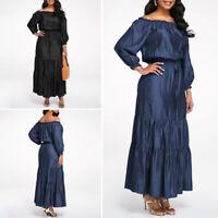 Mode Femme Casual Loose une épaule Taille Haut Manche Longue Plissé Robe Dresse