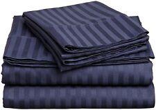 1200 Thread Count Egyptian Cotton 3pc Duvet Set Stripe ( Cal-King , Navy Blue )