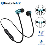 Stereo Earphone Headset Bluetooth 4.2 Wireless Magnetic In-Ear Earbuds Headphone