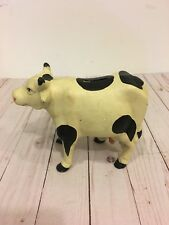 Vintage Cast Iron Cow Dairy Milk Cow Still Penny Bank 7.5 Inch