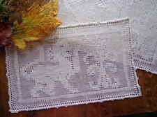 6 Antiq Italian Placemats Handmade Lace FIGURAL Pulled-Thread Embroidered LIONS