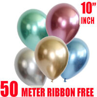 "10Pcs/set 10"" Metallic Chrome Balloon Bouquet Party Birthday Wedding Decor Shiny"