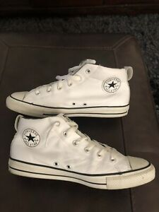 Converse Mens Chuck Taylor All Star Street Mid 143726C White Leather Sneakers 10