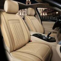 Universal Front Seat Cover Cushion Breathable PULeather Car Seat Pad Beige