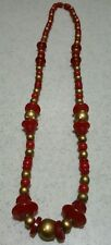 Amazing Vintage MCM Bakelite /early plastic Red & Gold Necklace Atomic Modernist