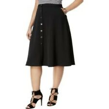NY Collection Womens Skirt 1x Black A Line Textured Pique Stretch Plus Size New