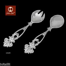 NEW IN BOX ARTHUR COURT FLEUR DE LIS SALAD SERVERS TONGS SET/2PC. FREE SHIPPING