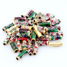 50pcs Mixed Colorful Flowered Enamel Cloisonne Tube Spacer Beads Fit Jewelry FW