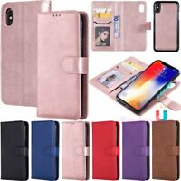Magnetic Removable Leather Wallet Flip Case Cover For iPhone 6s 8 Plus XR XS Max