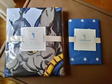 $208 Batman Pottery Barn Full Queen Duvet Cover + Star sham super hero boy gift