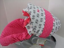 Navy and gray elephant print canopy infant car seat cover/Graco&custom size