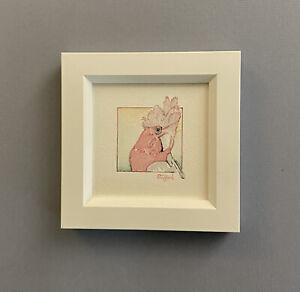 """Pretty In Pink"" Framed Original Miniature Watercolour Pink and Grey Galah."