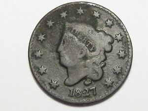 1827 US Coronet Head Large Cent Coin (Rotated Die). #53