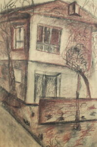 ANTIQUE PASTEL DRAWING HOUSE