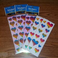 Bright rainbow colored heart stickers. 60 stickers.