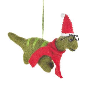 Felt Christmas Dinosaur with Specs Tree Decoration
