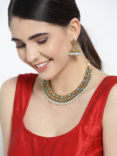Earings Antique Necklace Jewelry Set Indian Bollywood Gold Plated Stone Studded