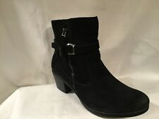 Earth Origins Suede Water Repellent Ankle Boots - Tori Black 6 wide