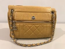 CHANEL YELLOW LEATHER SHOULDER BAG, CHAIN STRAP