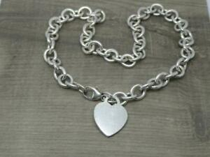 """Genuine Heavy Vintage Sterling Silver Tiffany & Co Heart Tag 16"""" Necklace c2001"""
