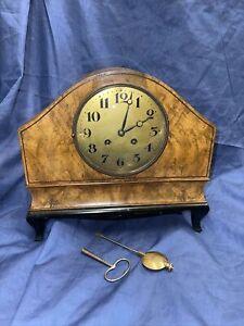 Lenzkirch Jugendstil Tischuhr Antik Kaminuhr Nussbaum Art Nouveau Vintage Uhr