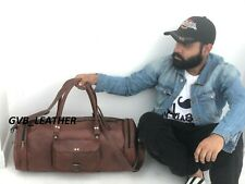 Men's Leather Duffel Travel Round shape Weekend Overnight Luggage Holdall Bag