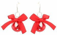 Zest Glitter Christmas Bauble Dangly Earrings for Pierced Ears Red & White
