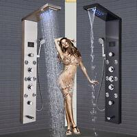LED Light Rainfall Waterfall Shower Panel Set Tub Tap Massage Body Sprayer Jets