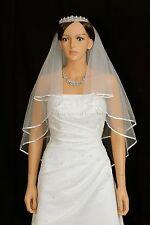 "2T Ivory Elbow Length 1/4"" Ribbon Edge Center Gathered Bridal Wedding Veil"