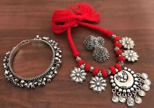 Indian Ethnic Silver Pendant Black & Red Oxidized Necklace  (EARRINGS,BANGLES)