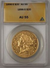 1896-S US Double Eagle $20 Gold Coin ANACS AU-55 (SPL Semi Proof Like)