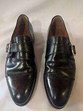 BONTONI  Fatte a Mano handmade Burnished Brown Leather Monk Strap Shoes Sz 9
