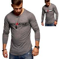 Jack & Jones Herren Langarmshirt Logo Shirt Longshirt Print Herrenshirt