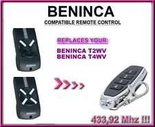 Beninca T2WV / Beninca T4WV replacement remote control / compatible transmitter