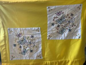 Handmade Womens / Ladies Lap Quilt Blanket Afghan Yellow Embroidered Butterflies