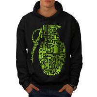 Wellcoda Gun Grenade War Gangster Mens Hoodie,  Casual Hooded Sweatshirt