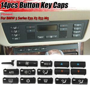 14pcs Replace Push Buttons Cap A/C Climate Control Panels Set For BMW E39 E53 X5