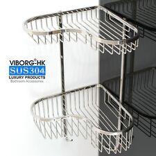 304 Stainless Steel 2-Tier Shower Basket Shelf Tidy Rack Caddy Storage Organizer