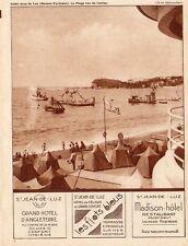 SAINT JEAN DE LUZ  PLAGE HOTEL ANGLETERRE FLOTS BLEUS MADISON PUBLICITE 1931 AD