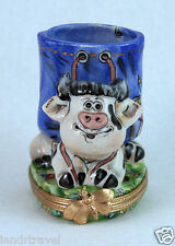 New Whimsical Authentic French Limoges Box Cute Smiling Cow Pen Holder